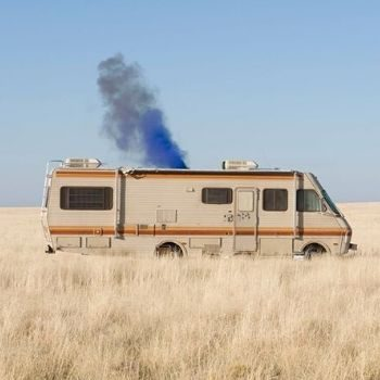 An iconic image from Breaking Bad, using EG blue smoke